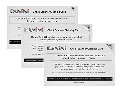 Panini Check Scanner Cleaning Cards Featuring Waffletechnology (15 Cards) (3 Pack)