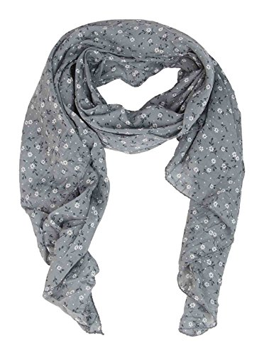 Zwillingsherz - Foulard di seta da donna con motivo floreale, made in Italy, elegante sciarpa estiva per donne, di alta qualità, stola in chiffon con motivo elegante grigio chiaro Taglia unica