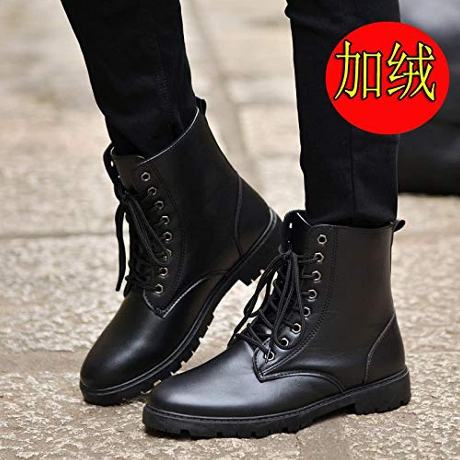 VXCZFS Outdoor boots Wild In The Middle Of A Single Boots In The Desert High To Help Winter Outdoor Boots Cotton shoes Waterproof Men'S Boots British Retro In The Tube Boots, 42, Black Cotton Boots