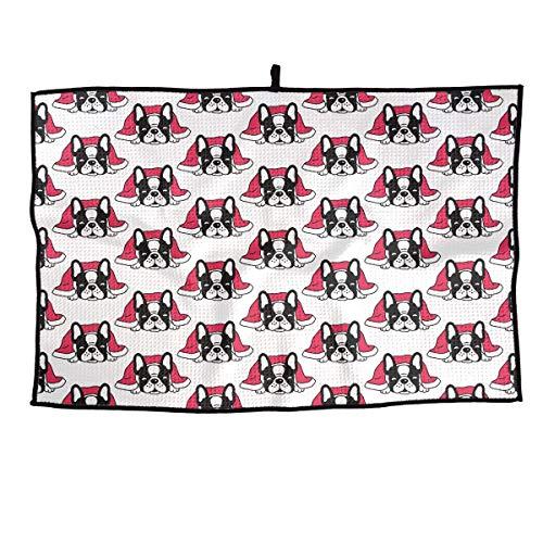 Cómoda toalla de golf de microfibra Bufanda navideña Bulldog francés Toalla deportiva de secado rápido - para yoga, deporte, correr, gimnasio, entrenamiento, acampar, hacer ejercicio y más actividades