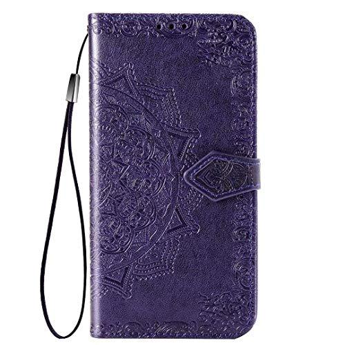 JIAFEI Passend für ZTE Blade A7S 2020 Hülle, Schönes Muster Geprägtem Brieftasche Lederhülle Flip Schutzhülle, Lila