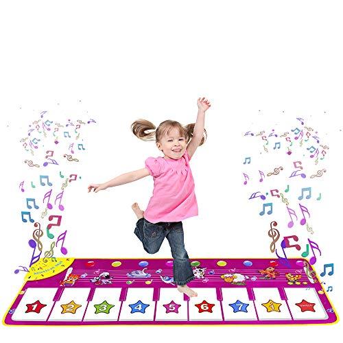 m zimoon Piano Dance Mat, Kids Music Mat Animal Floor Keyboard Musical Carpet Mat Birthday Xmas Gifts for Age 3+ Years Old Girls Boys Toddlers