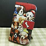 Dog Family Wallet Credit Card Slots Kickstand Flip case Cover for iPhone Samsung Galaxy Phone (Galaxy J1 Ace)