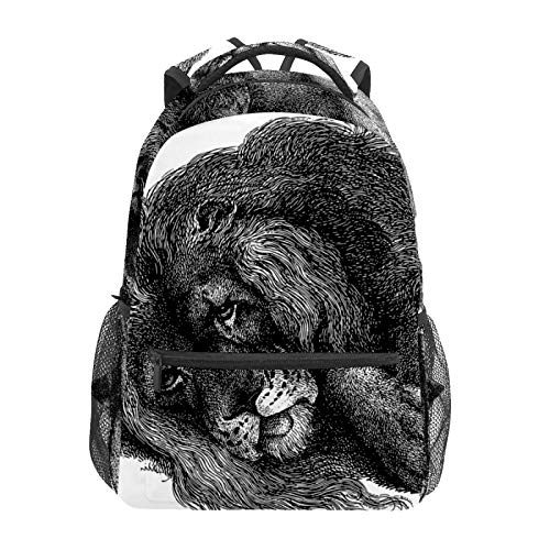 Schulrucksack Löwe Tier Line Art Feline Casual Reise Laptop Daypack Canvas Buch Taschen für Frauen Mädchen Jungen Studenten Erwachsene Herren
