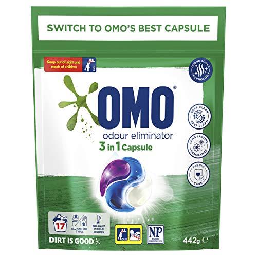 Omo Laundry Liquid Triple Capsules, 3 in 1 Capsule, Odour Eliminator 17 Pack