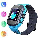 Smooce Kinder Smartwatch LBS Tracker,Touch LCD Kid Smart Watch mit Taschenlampen Anti-Lost Voice Chat für 3-12 Jahre alt Jungen Mädchen Geburtstagsgeschenke (Blue)