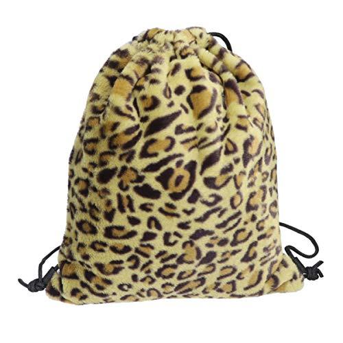 FENICAL Bolso con cordón Mochilas Estampadas con Leopardo de Felpa Mochila Bolsa de Almacenamiento de Compras Bolsa con cordón (Amarillo)