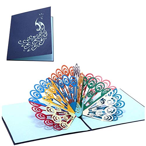SJUNJIE Cartes de Voeux de Paon Pop-up 3D à la Main Carte de Remerciement Carte D'anniversaire Carte de Mariage