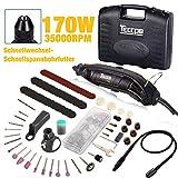 Multifunktionswerkzeug, TECCPO 8000-35000 U/min 170W Drehwerkzeug, Rotationswerkzeug mit 5 Drehzahleinstellungen, 80 Zubehör, Flex Welle, 3 Backenfutter Ideal für Vatertagsgeschenke -TART04P