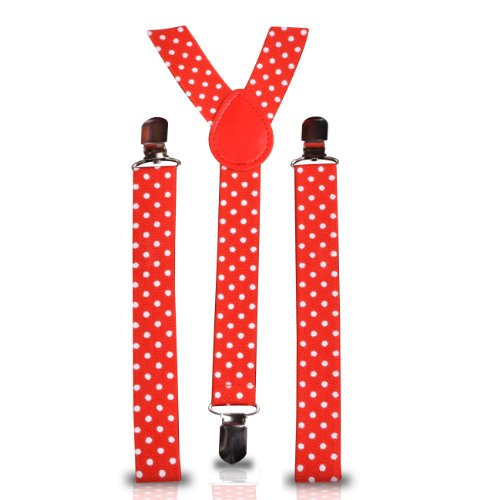 Shukan Fashions - Bretelles - Homme Rouge WHITE POLKA DOT RED