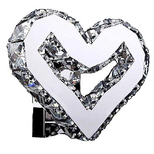 ZWL Lampe murale en cristal en forme de coeur, Lampe de chevet créative à la lampe au lit K9 Éclairage en cristal de niveau Marry Room Lampes décoratives Salon Restaurant Lumière blanche Lumière chaude 22 * 16 * 8cm mode ( Couleur : Lumière blanche )