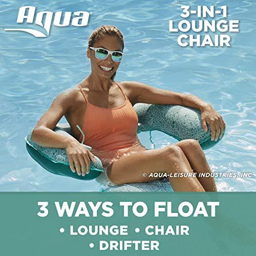 Aqua Mosaic 3-in-1 Pool Chair Lounge, Inflatable Pool Float, Multi-Purpose Pool Chair (Lounge, Drifter, Chair), Green Mosaic