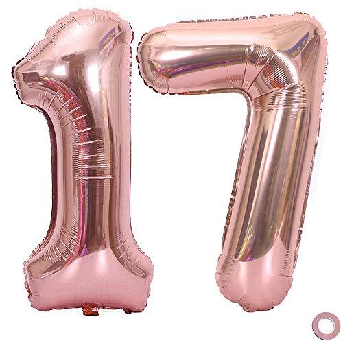 Juland Número de Globos de Oro Rosa Globo de cumpleaños de Hoja Gigante XXL Globos Grandes de Mylar de la Hoja Número de Globos de 40 Pulgadas Jumbo para Decoraciones de Fiesta de cumpleaños - 17