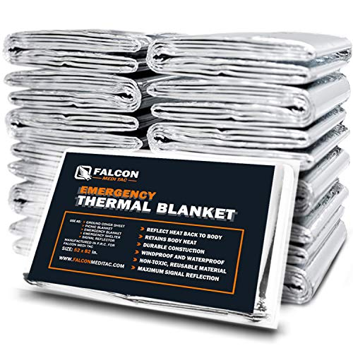 Falcon Medi-Tac Emergency Thermal Blanket, Pack of 10 Space Blanket, Survival Blanket -Mylar Blanket Designed NASA| Perfect for Outdoor, Hiking, Survival, Emergency Camping, First Aid Kit