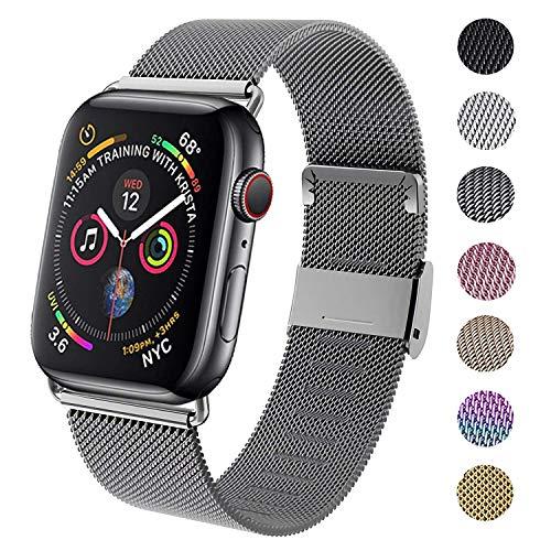 INZAKI Compatible pour Bracelet Apple Watch 38 mm 40 mm 42 mm 44 mm, Bracelets de Remplacement en Acier Inoxydable avec Aimant Compatible avec iWatch Series 5/4/3/2/1