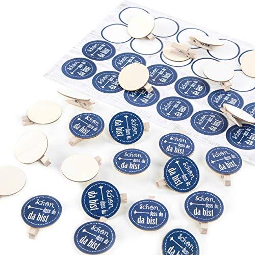 Logbuch-Verlag SCHÖN DASS DU DA BIST 48 Klammern Holzscheibe + 48 runde Selbstklebende Sticker zum Basteln als Dekoration Verpackung Geschenke give-aways blau maritim