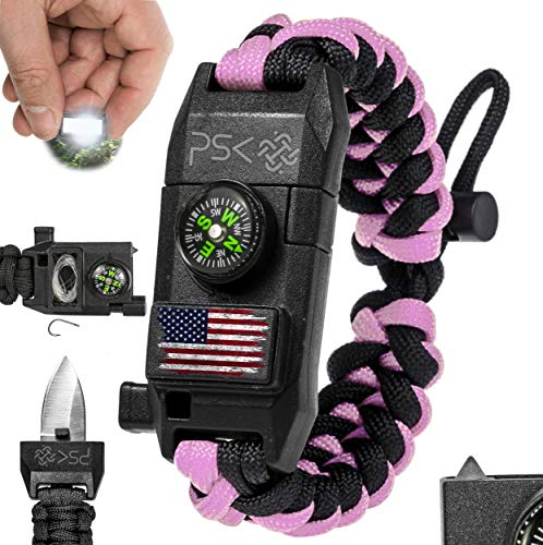 PSK Paracord Bracelet 8-in-1 Personal Survival Gear Kit - Urban & Outdoors Survival Bracelet , Fire Starter, Glass Breaker, Survival Whistle, Signal Mirror, Fishing Hook, Compass (Pink USA Flag)