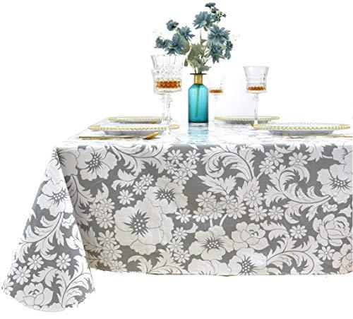 Rally Home Goods - Mantel cuadrado de vinilo para interiores y exteriores, parte trasera de franela, a prueba de derrames, lavable para mesa de comedor, fiestas y picnic, diseño floral blanco de 140 x 55 pulgadas, asientos de hasta 4