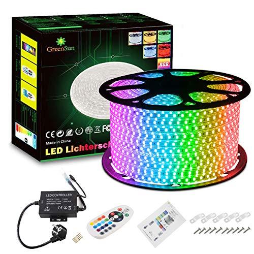 GreenSun LED Lighting Led Lichtband 50m RGB LED Strip LED Streifen Lichterschlauch mit RF Controller 24 Tasten Fernbedienung für Weihnachten Geschenk Hochzeit Party Deko