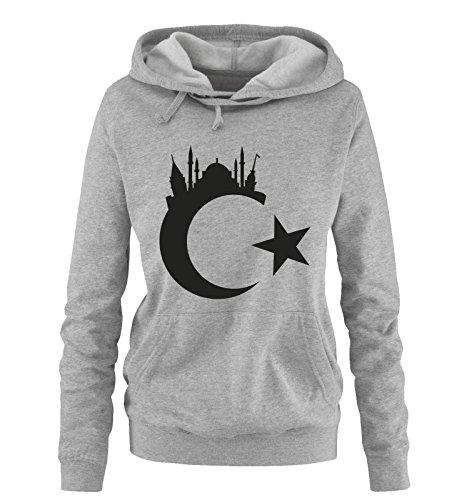 Comedy Shirts Türkei - Wappen - Istanbul - Damen Hoodie - Grau/Schwarz Gr. M