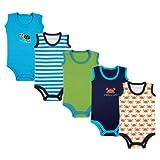 Luvable Friends Unisex Baby Cotton Sleeveless Bodysuits, Crab, 6-9 Months