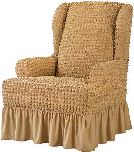 DFJU StuhlbezügeStretch Wing Chair Slipcover 1-teiliger Universal Easy Fitted Wingback Chair Slipcover mit Rock Elegante RüschenHigh Elastic Seersucker Wing Back Chair Cover (Braun)