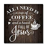 Coffee And Jesus Sign Christian Wood Decor Rustic Signs Wooden Decorations Kitchen Small Religious Plaque Station Nook Wall Home Faith Family Farmhouse Inspirational Scripture 8 x 8 Art B3-08080061069