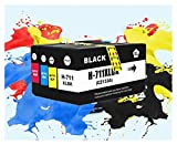 TZZD Cartucho 711XL HP711XL Tinta for HP711 XL for tinta Completo HP T120 T520 Impresora con circuitos integrados CZ133A CZ130A CZ131A CZ132A for HP711XL (Color: 1SET (1BK 1C 1M 1Y))