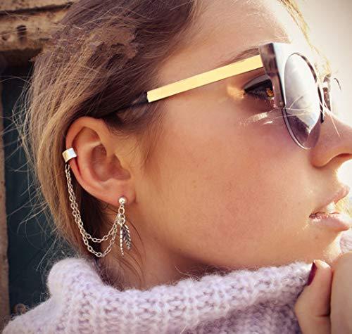 Deniferymakeup Gold Silber Einfache Blatt Ohrring Quaste Ohrstecker Ein Ohrstecker Ohrringe Vintage Ohrclip Ohrring Minimalistische Kette Ohrringe Mädchen Frauen Zubehör Blatt Ear Cuff