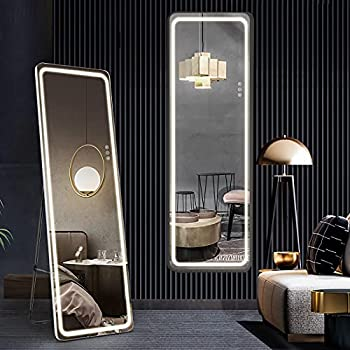 Full Length Mirror with Lights 63 x20  LED Body Mirror Free Standing Floor Mirror Wall Mounted Hanging Lighted Mirror Full Size Tall Vanity Mirror Large Dressing Mirror for Bedroom White