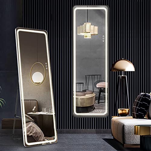 """Full Length Mirror with Lights 63""""x20"""", LED Body Mirror, Free Standing Floor Mirror, Wall Mounted Hanging Lighted Mirror, Full Size Tall Vanity Mirror, Large Dressing Mirror for Bedroom, White"""