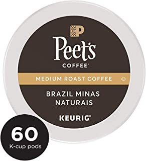 Peet's Coffee Single Origin Brazil, Medium Roast, 60 Count Single Serve K-Cup Coffee Pods for Keurig Coffee Maker