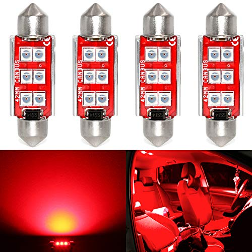 Phinlion Super Bright 211-2 LED Bulb 3030 6-SMD Festoon 41mm 42mm 578 212-2 Bulbs for Car Interior Map Dome Trunk Courtesy Light, Red (4 Pack)