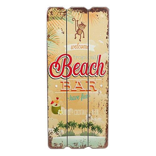 Cartel de madera, diseño con texto Beach Bar, Welcome, Coctails, Beer, Tropical Bar, Cartel para pared, MDF 34x15cm