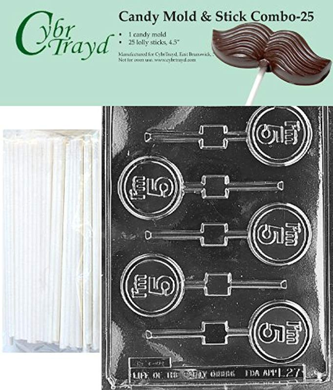 Cybrtrayd 45St25 L027 I M 5 Lolly Chocolate Candy Mold With 25 Cybrtrayd 4 5 Lollipop Sticks