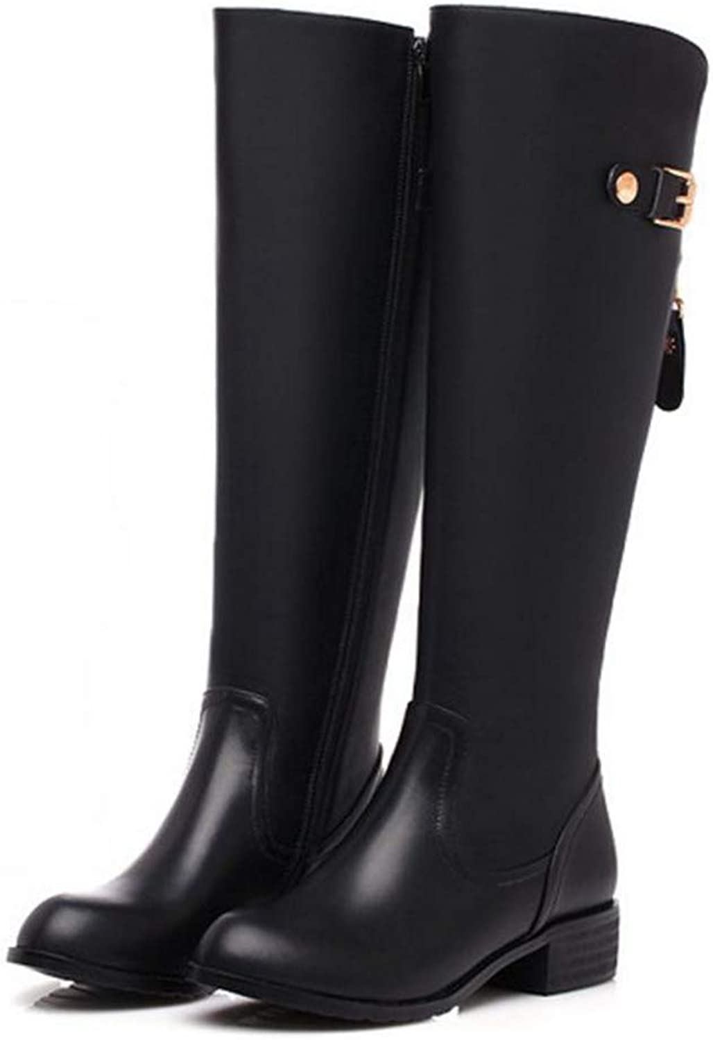 Woman's Round Toe Knee Boots Classical Low Heel Knight Boot Female Zip Buckle Square Heel Flat shoes