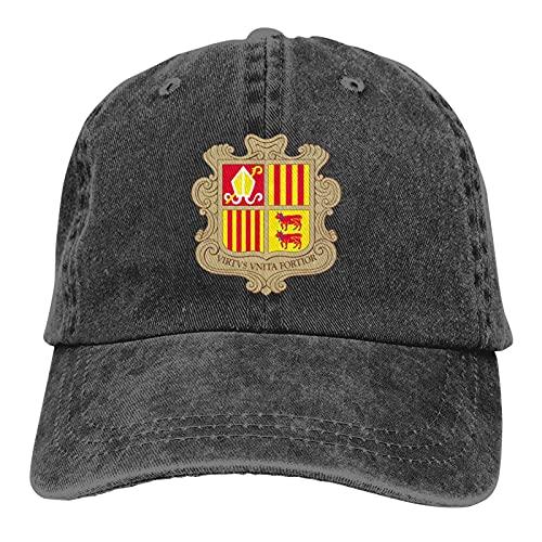 Escudo de armas de Andorra Gorra de béisbol ajustable Trucker Sombreros de vaquero Sombrero Camping Negro