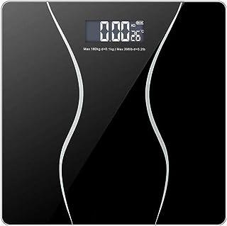 HJTLK Básculas de baño Digitales, Báscula de pesaje Báscula de Peso Delgada, Pantalla LCD retroiluminada con Plataforma de Vidrio Templado Grueso de 6 mm, Negro