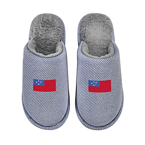 Flag Of Western Samoa Men'S Cozy Memory Foam Slippers With Fuzzy Plush Wool-Like Lining, Slip-On Clog House Shoes With Indoor Outdoor Rubber Sole