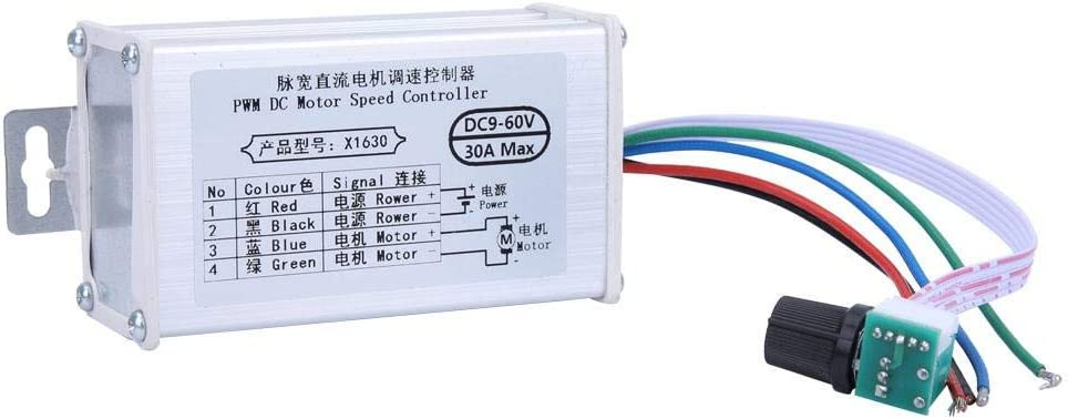 Controlador de velocidad del motor de CC, Módulo de controles del controlador del motor del cepillo DC 9V-60V 12V 24V 36V 48V 60V Motor Regulador del modulador de ancho de pulso 30A PWM Regulador del