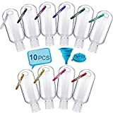 Huishang 10PCS Travel Bottles for Hand Sanitizer, 2oz Leak Proof Travel Bottles Set with Keychain, Portable Mini Size Squeeze Bottles for Toiletries & Liquid, Buckle-Random Colors, Come with Funnel