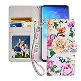 MagicSky Galaxy S10 Case, Samsung S10 Wallet Case, Premium PU Leather Flip Folio Case Cover with Wrist Strap, Card Holder, Cash Pocket, Kickstand for Samsung Galaxy S10 (2019),Flower
