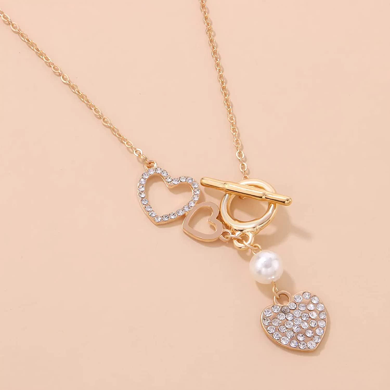 WDBUN Necklace Pendant Jewelry Fashion Crystal Heart Female Choker Necklace Simple Neck Chain Lock Pendant Necklace Jewelry Neck Charm Collars Halloween Christmas Valentine's Day Birthday Gift