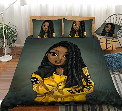Edredón y funda de almohada con estampado 3d de African Beautiful Girl,juego de ropa de cama para dormitorio de niños y niñas,adecuado para cama individual doble tamaño king-135x200cm (2 piezas) _5