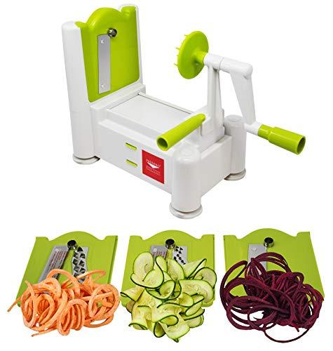 Paderno World Cuisine Tri-Blade Spiral Cutter, 3, Lime
