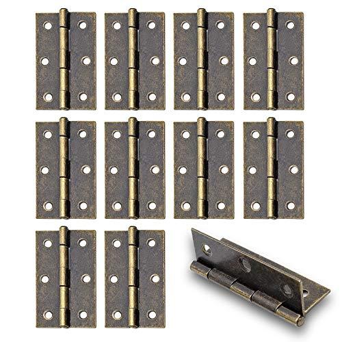 Amgiimor 10PCS 2''x1.5'' Brown Door Hinge Iron Hinge Folding Butt Hinges for Door Cabinet Bedroom with Mounting Screws