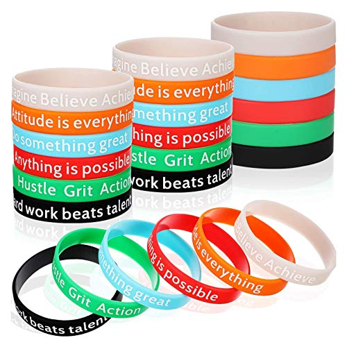 Motivational Bracelets Silicone Wristbands Inspirational Bands with Inspirational Messages for Studying Competing Working, 6 Styles (36 Pieces)