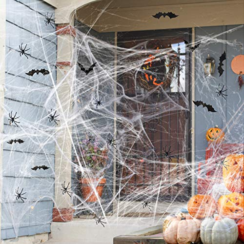 Osugin 1000 sqft Halloween Spider Web with 30 Fake Spiders, and 12Black 3D Bats Wall Stickers, Halloween Party Supplies Scene Props Indoor Outdoor Decorations for Bar Haunted House