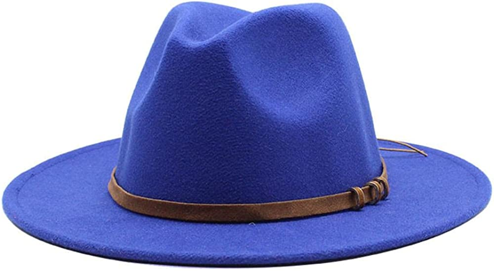 Women's and Men's Fedora Hat Classic Wide Elegant Brim Panama Wool Jazz Hat Daily Travel Cowboy Hats with Decoration