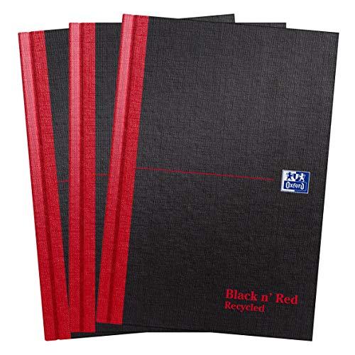Oxford Black n' Red, Cuaderno A5 de tapa dura, reciclado, sin forro, paquete de 3